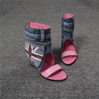 Cheap Free shipping 2015 genuine leather british style denim casual elevator shoes wedges female sandals female cool boots
