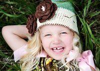 1pc Crochet baby girl beanie 0- 3Y children's caps big flower...