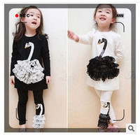 baby patch clothing - 2015 baby sets spring new children s clothing lace patch Swan Neck girls suits t shirt and pants suits