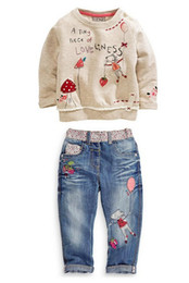 Wholesale 2015 spring news Kids fashion clothes for girls Cartoon long sleeved sweater jeans suit student clothes babymmclothes
