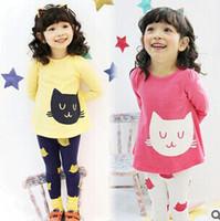 Wholesale Free Ship New Girls Sets Kids Apparel Age cats Children spring autumn Set girls clothing sets shirt pants