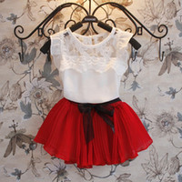 Wholesale Bear Leader Girl clothing set Fashion new two piece children s clothing lace stitching beautiful girl dress vest skirt