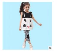 Wholesale 2015 summer new Korean version Children clothing Set girls short Fashion Suit two pieces