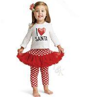 Wholesale 2015 new winter vestidos XMAS sweatshirt clothing set christmas T shirt Pants dots Gauze skirt suit girl suit I LOVE SANTA