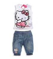 baby clothes list - 2015 The new listing Baby girls summer sets Girl s clothing sets denim sets kitty t shirt denim short
