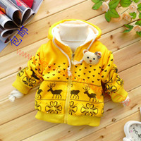 beer baby - Retail children outerwear baby clothing girls winter jackets berber fleece cotton girls hooded coats cartoon beer clothes