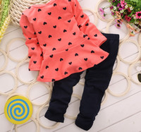 Wholesale 2015 new fall suit children s clothes Korean girls long sleeved suit children love bow