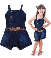 Wholesale 2015 Hot Sale kid jeans for children clothing Overall Pants With Belt top selling girl jeans jumpsuit