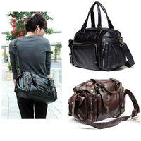 leather duffle bag - New Men s Fashion Hand bag PU Leather Gym Duffle Handbag Satchel Shoulder Travel Bag for men Dark Brown Black