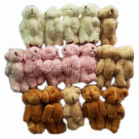 Wholesale Plush Kawaii Mini Teddy Bear Small pendants Joint Bare Stuffed toys dolls bouquets Key chain Phone Bag soft toys H cm