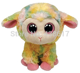 Wholesale-Free Shipping Ty Beanie Boos Blossom Multi Colored Lamb 13cm Sheep Plush Big Eyes Stuffed Animals Kids Toys for Children Gifts