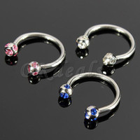 Wholesale Crystal Surgical Steel Piercing Horseshoe Lip Bar Stud Nose Ear Nipple Ring Hoop PC