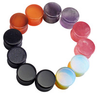 Wholesale 12Pcs Colors Stone Ear Gauges Plug And Tunnel Stretcher Expander Double Flared Saddle Fit Plugs mm mm Choosable