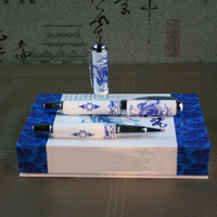 Wholesale Classic Gift Gel Ink Pen China Blue and white porcelain Craft Gel Pens with Hardcover box Free