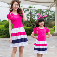 Wholesale mom and daughter dress matching mother daughter clothes Family look cotton Beading strip short sleeve princess dress