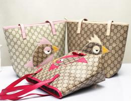 Wholesale Hot new arrival Fashion Brand Design Children Girl s Cartoon bird grid purse children mini handbag kids shoulder Bolsas satchels