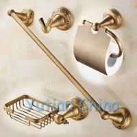 bar soap holders - Antique Brass Bathroom Accessories Set Robe hook Paper Holder Soap holder Towel Bar bathroom sets YT A