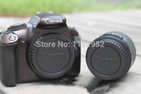 Cheap Camera 10PCS Front Body Cover +10PCS Rear Lens Cap 600D 60D 70D 500D 50D 450D 1000D 5D 6D logo Protector Cover Free Shipping