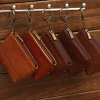 Wholesale Handmade Vintage Genuine Leather coin bag cow real leather coin wallet for men and women key wallet holder with zipper ID holder