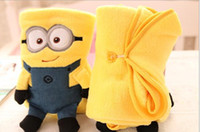 Cheap Wholesale-Retail coral fleece baby air conditioning rolling blanket, travelling car drive blanket, Despicable Me little yellow man blanket