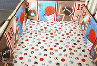 baby boy sports bedding - Base Ball Sports Brown Boy Baby Cot Crib Bedding Sets Embroidered d Quilt Bumpers Sheet Skirt bed kit bebe