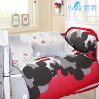bassinet bedding - New Spring hot patter mickey mouse crib bed set with size cotton mickey mouse baby cot bedding sets
