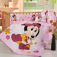 baby environment - Promotion branded item cotton pieces cartoon mickey minnie mouse environment friendly printing baby crib bedding set