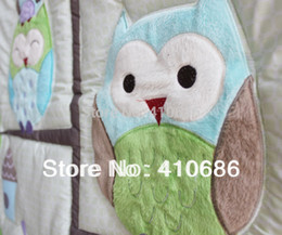 Wholesale Happy Owls and Friends Baby Nursery Crib bedding set Owl Boy Cot set Embroidered Quilt Bumper Sheet Dust Ruffle Bed kit