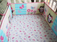 applique quilt kits - Pink Birdie Owl Flowers Girl Baby Crib Bedding Set Cot Kit Applique Embroidery d Quilt Bumper Fitted Sheet Dust Ruffle
