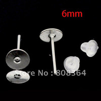 Wholesale Pc Silver Tone Flat Pad Earstud with Earnut Included W00597 X