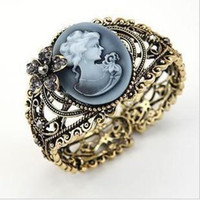antique cameo bracelet - 24 new fashion vintage antique brass cameo Mary alloy bangles bracelet H112