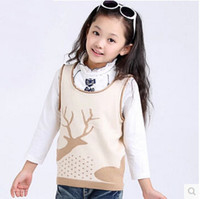 Cheap Baby Clothing Spring And Autumn New Arrival 2015 Kids Vest Girls Sweaters Vests Cashmere Yarn Knit Sweater Children's Waistcoat