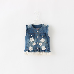 Baby Girls Spring Denim Vest For New Fashion Summer With Lace Ruffles Button Pocket Style Outerwear Children Clothing 5pcs lot