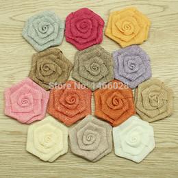 Wholesale-ePacket Free shipping 60 pcs lot , hair accessories 3 '' burlap rose flowers , burlap flat flowers headbands