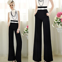Cheap Promation Women Sexy Fashion Casual High Waist Flare Wide Leg Long Pants Palazzo Trousers