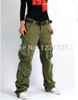 army fatigue cargo pants women - New Fashion plus size trousers pocket black khaki red hip hop cargo pants women amp Man army fatigue pant loose baggy pants women