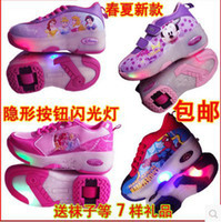 autumn brand roller shoes - 2015 New Kid Leather Pu Shoes With Wheels Kids Girls Wheel Carton Brand Girls Canvas Skates Roller Pulley shoes Girl Sneakers