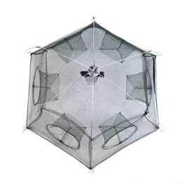 Wholesale Large cm Side Holes Foldable Folding Fishing Net Mesh Trap Shrimp Minnow Fishing Bait Cage