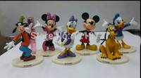 action figure bases - New Product Set M ickey Mouse Toys Minnie Mouse Action Figures Donald Duck Pluto Party Figures With Bases