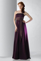 Reference Images A-line Purple Strapless Ruched Bodice Floor-length Chiffon Bridesmaid Dress Evening Dress