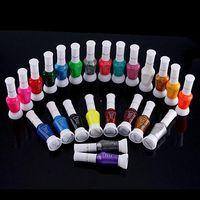 nail polish set - 24 Colors Nail Polish Pen Varnish Brush UV GEL Set Nail Art Brush Dotting Pen Brush Needle Nail Gel Two Way Use FreeShipp ZP012