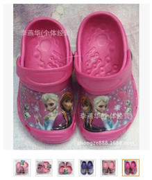 2015 frozen anna and elsa princess kids garden shoes sandals girls crocodile hole child antiskid cool summer slippers
