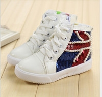 big boy model - 2015 autumn models girls boys canvas shoes Korean version of the British flag sequins spell color high top shoes big boy shoes