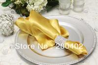Wholesale gold plain satin napkin wedding napkins