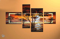 african forest animals - hand painted wall art Quiet forest hills home decoration abstract african art Landscape oil painting on canvas set framed