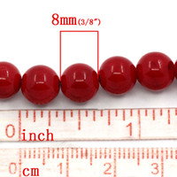 Wholesale Synthetic Agate Gemstone Loose Beads Round Red mm Dia cm long Strands approx Strand B23703 seasons