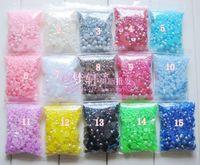 achat en gros de demi-perle bijou-AB sac Brilliant Half Round Pearlized acrylique perle / strass / gemmes dos plat Cabochons Mix Taille 3-10mm 1000pcs (ZZZ022)
