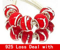 Cheap NO. 38 Glass 925 Stering silver Lampwork Big Hole Loose Beads fit European murano glass beads pandora bracelet Jewelry Charms