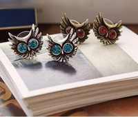 Wholesale 12 pairs vintage pretty owl stud Earrings EaringJewelry blue red H250