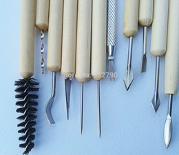 Wholesale Clay Sculpting Sculpt Smoothing Wax Carving Pottery Ceramic Tools Polymer Shapers Modeling Carved Knife Wood Handle Set